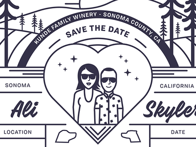 Save The Date wine california sonoma line save the date wedding typography illustration