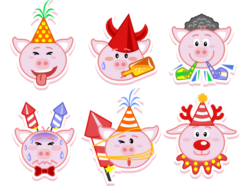 emoji new year funny playful clean new year cute pig emoji