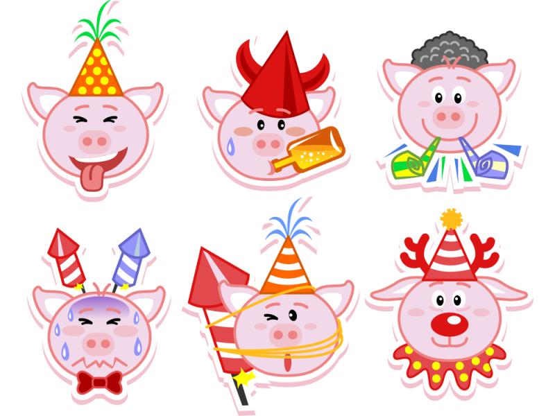 emoji new year funny playful clean new year cute pig emoji