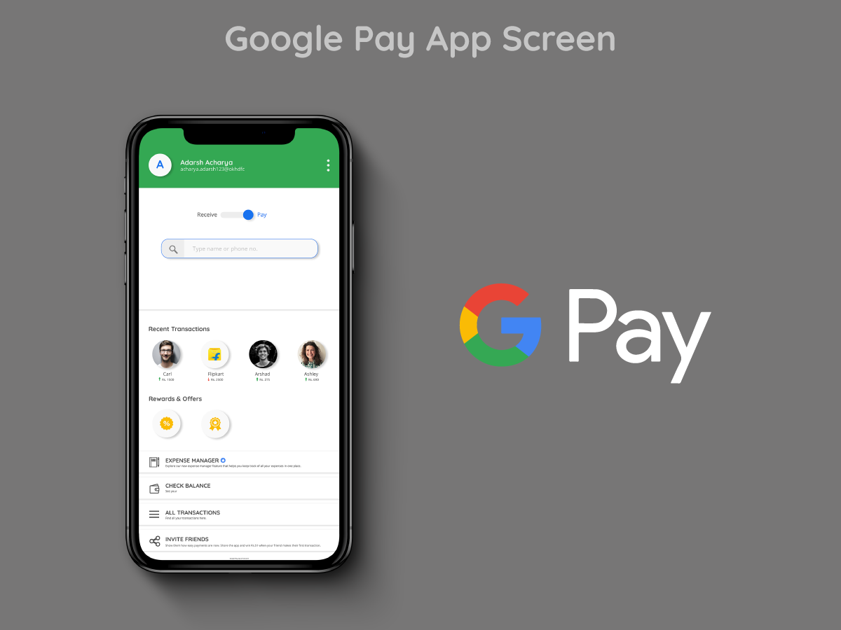 Google Pay App Screen Redesign by Adarsh Achar on Dribbble
