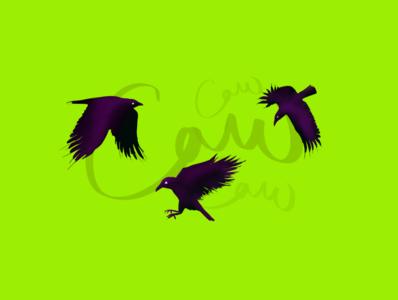 Caw procreate typography illustration