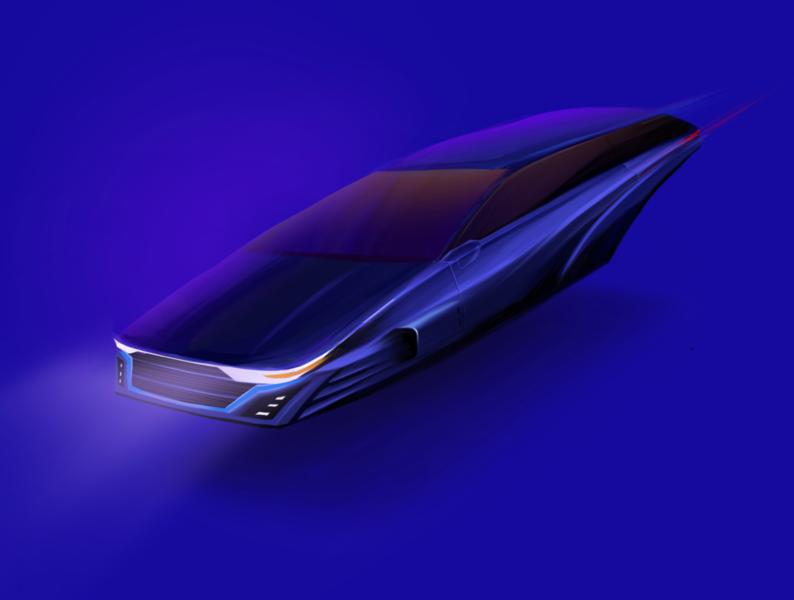Futuristic Car procreate design illustration