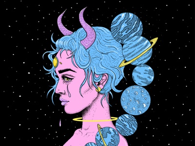 Universal Sadness galaxy planets space female space babe poster digital art drawing illustration art illustration