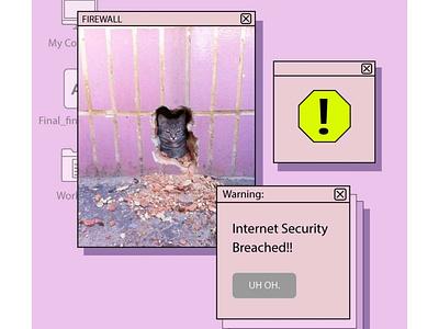 Firewall Breached! design meme funny cat memes
