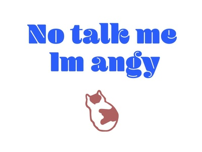 No Talk Me Im Angy type design funny not talk me angy cat meme