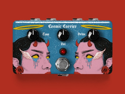 Cosmic Carrier Guitar Pedal guitar pedal product design drawing face female illustration music pedal craft