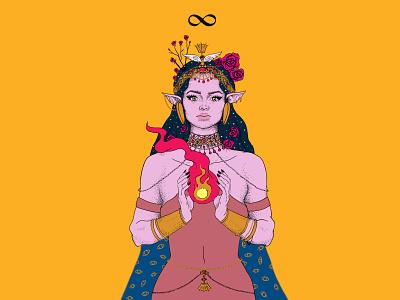 The Magician tarot female digital ink drawing illustration
