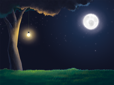 Calm Night tree moonlight stars moon illustration painting digital night