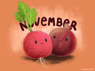 November Cuties 2d art illustration veggies painting concept art character fall raddish pomegranate november