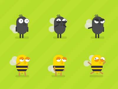 The Fly & The Bee sketch vector character concept mobile game 2d art design characterdesign character bugs bee fly