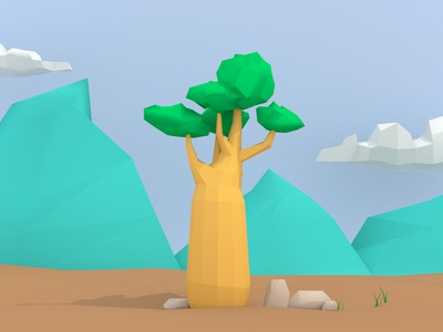 Baobab clouds tree mountains minimal maya 3d lowpoly