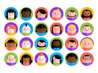 Dudes and gals caricatures hipster face profile icon people of the world world people characters icons flat icons avatar