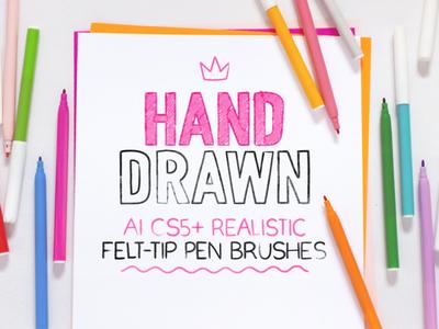 Felt-tip pen brushes for Adobe Illustrator