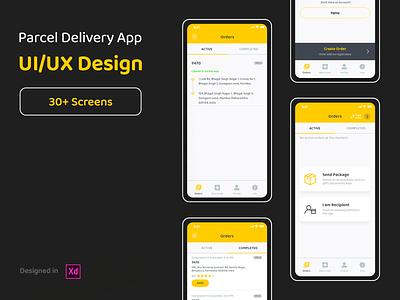 Parcel Delivery App - UI/UX Design black yellow logistics delivery parcel android ios design app ux ui