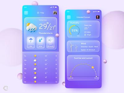 Weather Forecast Mobile App Design weather forecast ui design winter sun rain illustration app design ux ui app design weather app weather