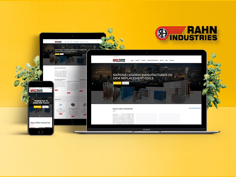 RAHN Industries industries mockup creative design ux ui ios page landing website