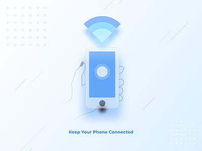 Keep Your Phone Connected Artwork artwork art illustration creative capermint ios app design ux ui