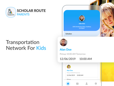 Scholar Route - Transportation Network for Kids branding illustration ios ux creative android tracking transportation children driver parents school map uidesign ui app
