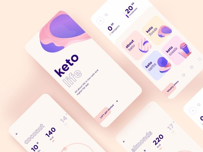 Keto App Design weight mobile diary carbs keto diet typography illustration design ux ui app