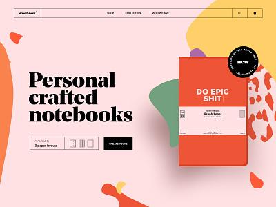 Weebook craft notebook typography illustration branding web design landing web brand ux ui design