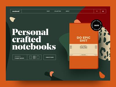 Weebook book notebook typography illustration web design landing web brand ux ui design