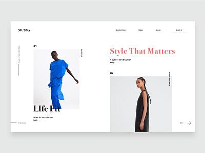 Mussa fashion web design landing web brand ui ux design
