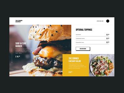 The Corner Gourmet burgers food ux ui design ux design identity web design landing web brand ui ux design