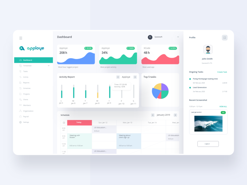Web Dashboard - UI Design graphics card chart stats statistics minimal landing learning product saas activity design branding web ux ui interface dashboard clean app