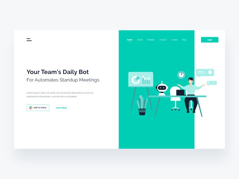 Slack bot landing page minimal website design chat slack bot robot art web design web vector branding illustration clean interface ui ui design design app