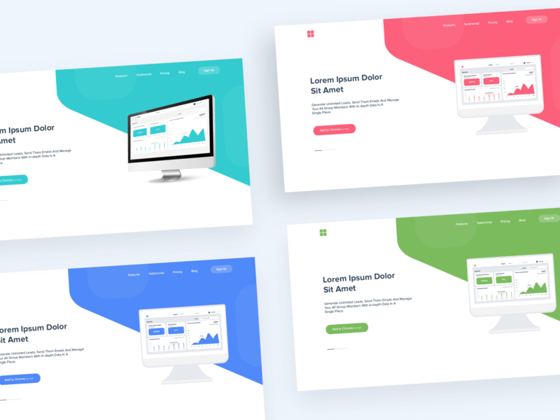 Web Header - Color Exploration 😊 web header web design website web product landing minimal ux ui ui design interface dashboard design color clean branding agency app