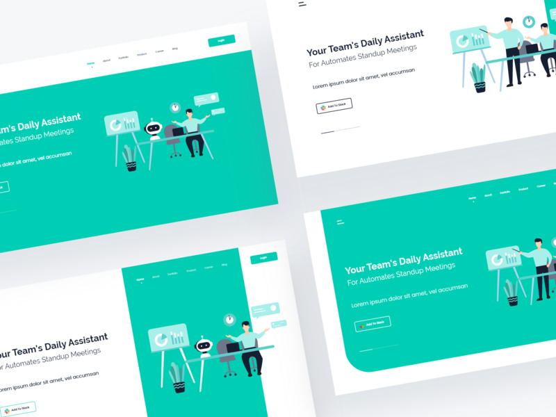 Slack Bot - Web Header Exploration vector website web design minimal slack robot ui ui design web interface illustration design clean design clean chat branding bot art app
