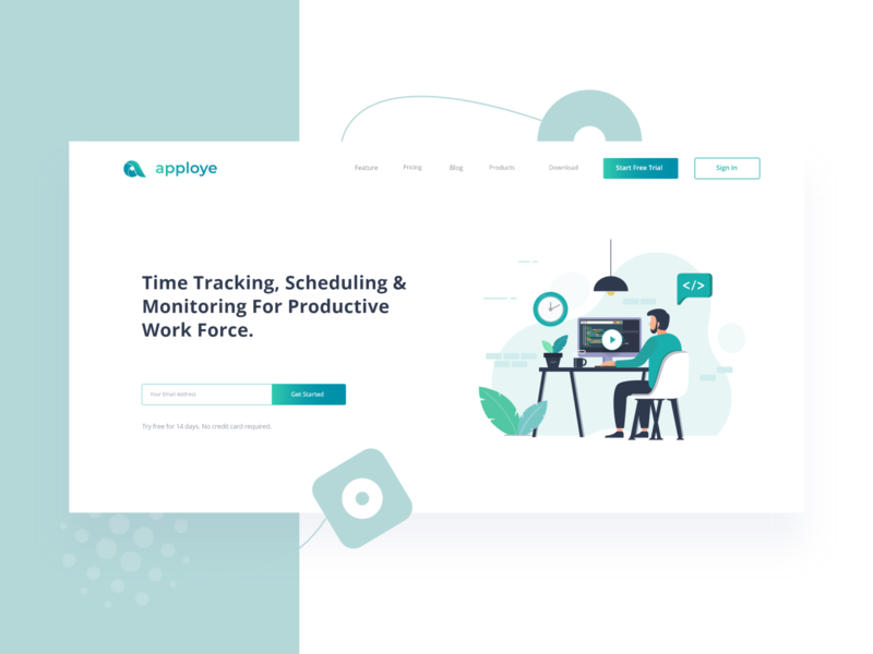 Landing page header - Apploye saas time tracking webdesign web site website web design web vector ux ui design ui product logo interface illustration design clean branding art app