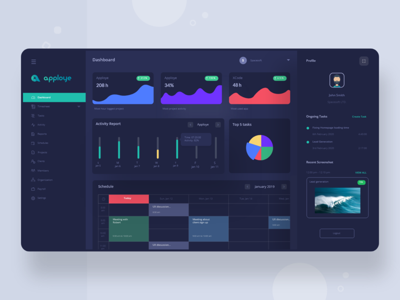 Apploye Dashboard - Dark Theme tracking graph dark card monitoring time tracking app stats statistics saas product web ui design ux ui dashboard interface activity branding design clean app