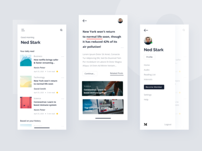Medium App - UI Redesign ui design flat uidesign elegant ios mobile product design ux user story user experience user interface ui news app news design clean article blog app branding app