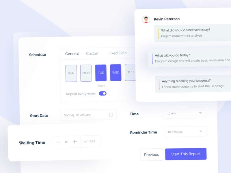 Schedule Maker Form and Timeline bot button branding slack web design card ui ui ux timeline schedule product design material interface form component library components design clean card app