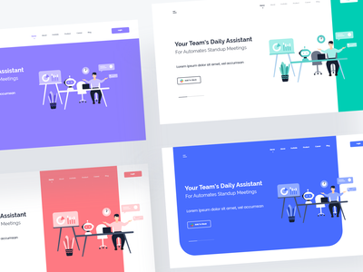 Slack bot landing page colorful card ux website design web design web vector ui design ui slack robot interface illustration design clean chat branding bot art app
