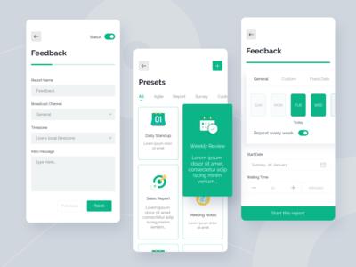 Slack bot app 😊 slack bot app mobile form robot card vector ux ui design ui slack schedule report ios interface illustration design clean branding bot app