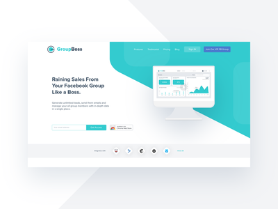 Landing page: Header 😊 google chrome extension web header facebook integration web app figma webdesign web design web ux ui product design leads lead generation interface email targeting email automation clean branding audience