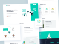 Slack Bot - Landing Page 😊 card website web design web vector uidesign ui style product design layout landing page corporate interface illustration slack bot creative colors clean character art
