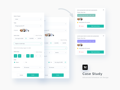 Advanced Schedule Case Study 🔥 web design visual ux ui design ui tracker timeline task management schedule app schedule product design interface events education design dashboard case study card clean calendar
