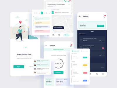 Time Tracking - SAAS App ⚡️ attendance shift tab bar notification map schedule art time tracking app mobile ios vector illustration product design clean interface ux ui design design app ui