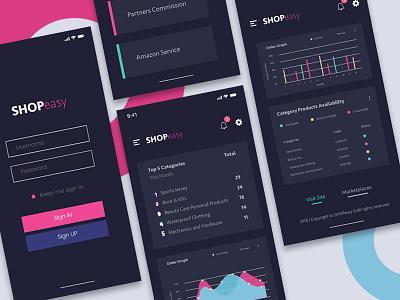Dark Dashboard e-commerce ecommerce login ux ui statistics finance dashboard chart app