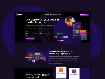 Concept website for media app start up interface design sketch webdesign visualization app branding visual design ui  ux ux ui