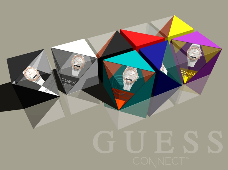 GUESS CONNECT watch box eye catching logo connect traingle 3d box design graphic design watch