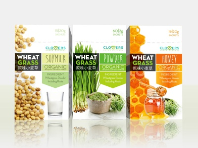 Wheat Grass sachets box 3d graphic design roots sachet honey powder soy milk soya soy organic wheat grass