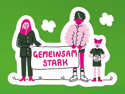 Green politics together stronger greenpolitics queer multiculti society design illustrator illustration vector