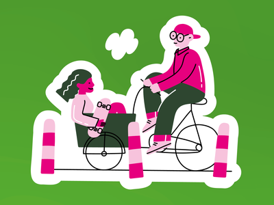 green politics skate cycle cargobike bike mobility climate design illustrator illustration vector