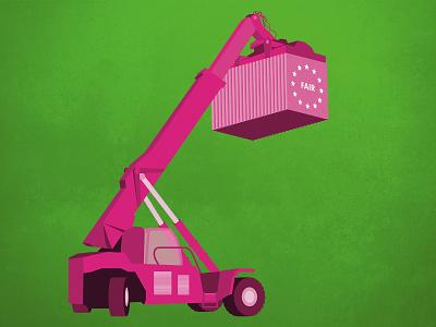 Illustration Fair Trade EU export import european union trade fair fairtrade container crane green design vector illustrator illustration