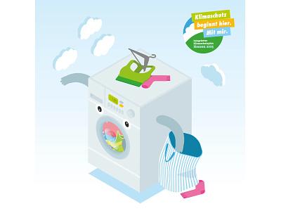 Illustration Washing Machine washing machine plan protection climate animation design vector illustrator illustration