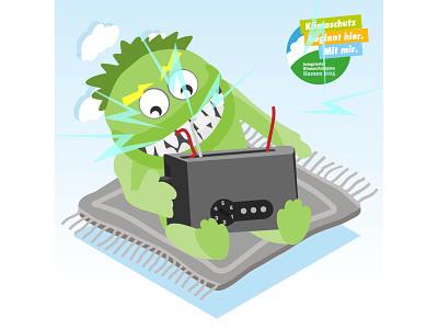 Illustration Energy Guzzler Monster toaster monster guzzler power energy plan protection climate animation design vector illustrator illustration